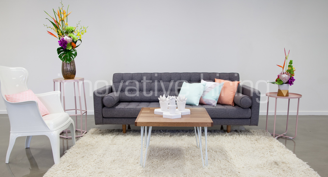 Features: Bassett Sofa, New York Wingback & Hairpin Coffee Table
