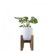 White Pot & Wooden Stand